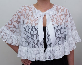 Sample Sale Ivory Eve Cape with Ruffles
