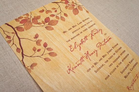 Real Wood Wedding Invitations: Real Wood Wedding Invitations Rustic Fall Leaves