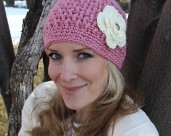 Crochet Flower Hat for Teens