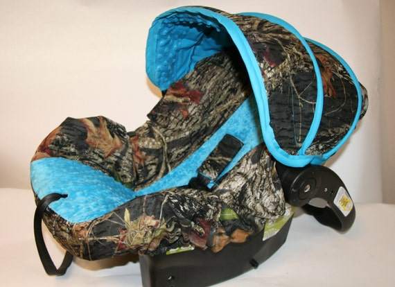 Hunters Camo Infant Car Seat Cover With Blue By Babycovers2010