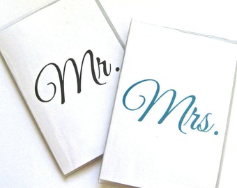 Custom Colors Vinyl Passport Holder / Cover - Mr and Mrs - Perfect for Destination Weddings and Honeymoon Travel Set of 2