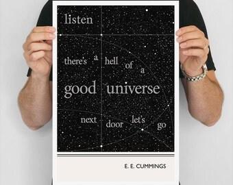 E E Cummings Poster, Minimalist Literary Art Print, Bookworm Gift
