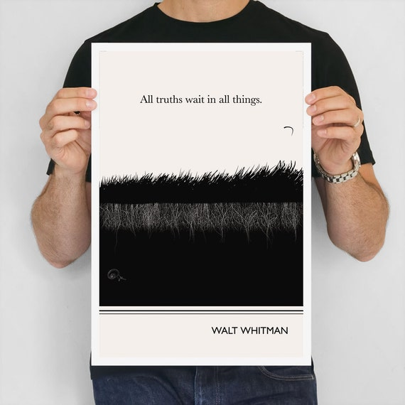 """Large Art Poster, """"Walt Whitman"""" Quote Literary Art Prints, Minimalist Illustration, Large Wall Art Quote Prints, Vertical Living Room"""