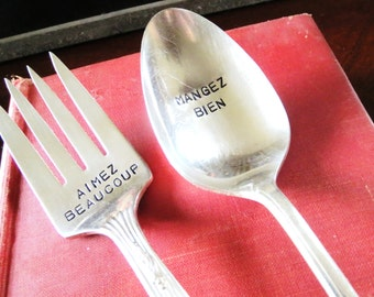 Vintage Silverplate, Eat Well, Love Much, Give Thanks, Hand Stamped, Serving Set, Table Setting, Holiday Table, Hostess Gift, Ready to Ship