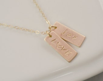 1 2 3 4 5 6 7 8 Personalized Rectangle Tag Charms GOLD Necklace, Personalized Jewelry,  Mothers Daughter Gift, Couples Necklace