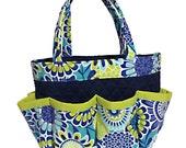 Flower Print in Lime and Shades of Blue Bingo Bag // Craft Organizer // Makeup Organizer // Caddy // Teacher Tote // Nurse Tote