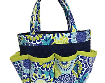 Flower Print in Lime and Shades of Blue Bingo Bag // Craft Organizer // Makeup Organizer // Caddy // Teacher Tote // Nurse Tote