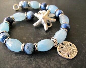 Caribbean Bracelet Aquamarine Blue Jasper Starfish Sand Dollar Beach Ocean Inspired Bracelet Summer Jewelry