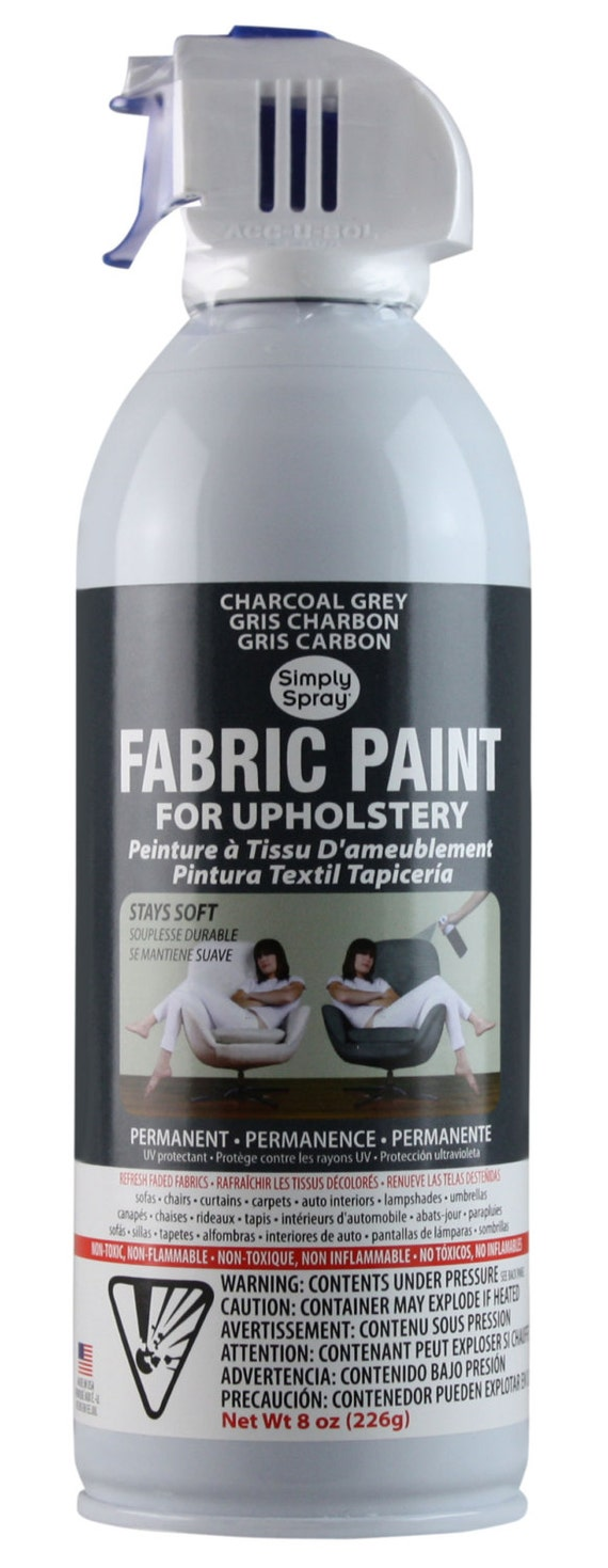 Simply Spray Upholstery Fabric Spray Paint Dries Soft Permanent Charcoal Grey 12 Pack