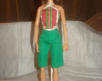 Green capri shorts and striped top for Fashion Dolls - ed496