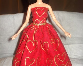 Queen of hearts red formal dress with gold hearts for Fashion Dolls - ed557
