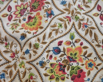 Bright Tropical Floral and Neutral Brown Vintage Decorator Weight Fabric