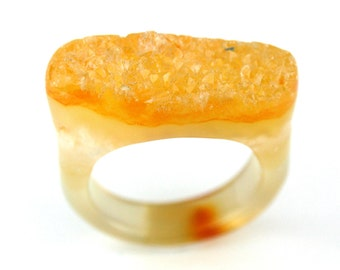 RI01011004) Yellow Agate Druzy Ring