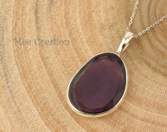 PD030003) Amethyst, Faceted, 925 Sterling Silver Pendant, Chain Included