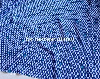 "Korean rayon fabric, fishbone print rayon fabric, blue, half yard by 54"" wide"