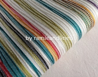"silk fabric, weaved colorful stripes, very special silk cotton blend fabric, half yard by 44"" wide"