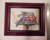 RESERVED for L. Cook - Bird Feeder Cross Stitch Picture Framed