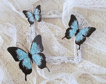Butterflies, Scrapbooking, Mixed Media, Shabby Chic, Tag Art, Home Decor, Mallard Set of 3