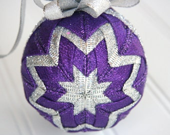 Quilted Christmas Ornament Ball/Purple and Silver - Sugar Plum