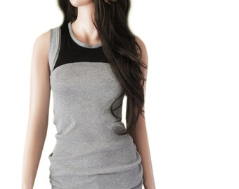 Tank gray women/color block black/sleeveless top
