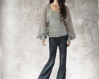 Top gray women/long sleeve blouson/dressy shirt