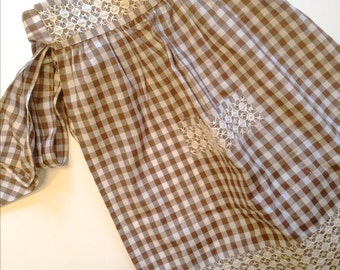 Vintage Brown Gingham Apron 1960s