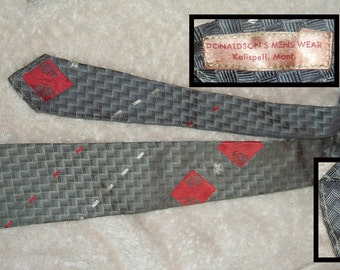 Wilcrest Wilson Wear Vintage Madmen Geometric Skinny Tie Cravat 1950's 60's Flawless