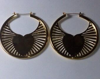 Heart Hoop Earrings Gold 3 inch