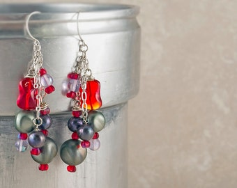 Bohemian Earrings Purple Freshwater Pearl Earrings Red Glass Earrings Pearl Boho Jewelry Sterling Silver Chain Earrings Cluster Earrings