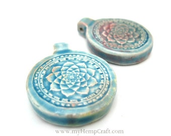 2pc Lotus Flower Pendants, Bohemian Pendants, High Fired Ceramic, Raku Beads, 30mm