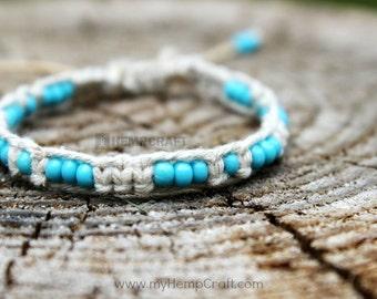 Macrame Hemp Bracelet with Beads, Turquoise Blue Adjustable Hemp Bracelet