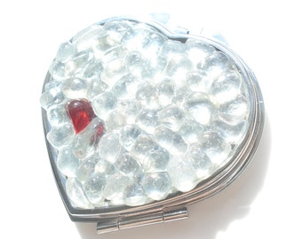 Sea Glass pocket mirror with bright red and white pieces , E1219 from Seaham, UK - (NE England)