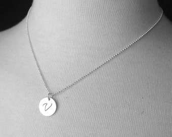 Large Initial Necklace, Sterling Silver Initial Necklace, Letter V Necklace, Letter V Pendant, Large Letter V Monogram Necklace, V Charm, V