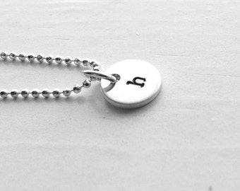 Tiny Initial Necklace, Letter h Pendant, Personalized Necklace, Hand Stamped Small Initial Pendant, Sterling Silver Jewelry