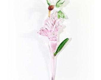 Crystal Pink XL Hummingbird and Flower Lampwork Glass Ornament