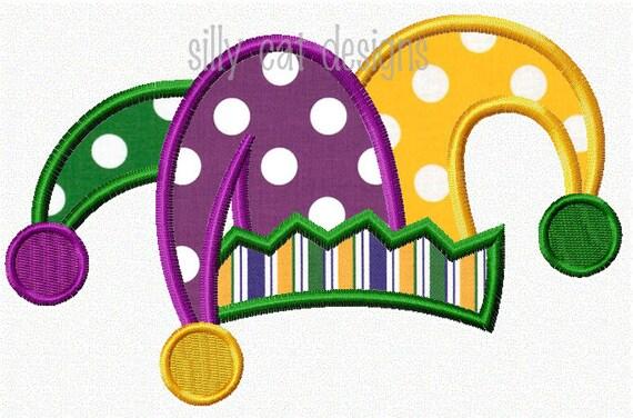 mardi gras jester hat applique design. Black Bedroom Furniture Sets. Home Design Ideas