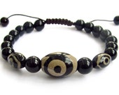 Tibetan Agate 3Eye Dzi Beads Bracelet Health And Energy  T3109