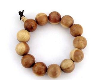 17mm Big Incense Wood Hand String Tibet Buddhist Prayer Beads Wrist Mala Bracelet  T2913