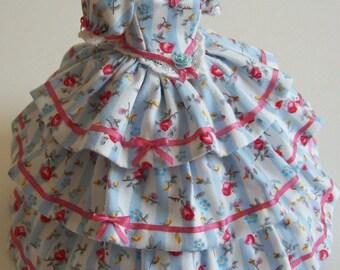 Handmade beautiful miniature dollhouse blue striped 1/12th scaledress
