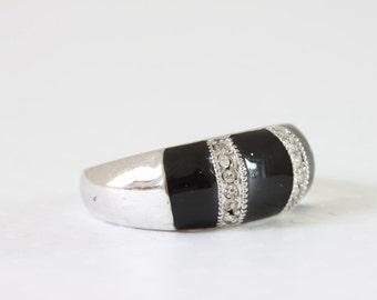 Black Band Ring Onyx Rhinestone Band Faux Onyx Ring  Channel Setting Band Ring  Ring Size 8