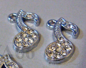 DIY4p Bling Bling Rhinestone Music Note A004 Charms Charm Findings Crystal Inlaid 21mm x 11mm Bali Beads Jewelry Making Parts, Bead Spacers