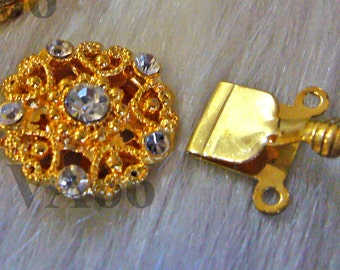 2p Rhinestone Single 2-strand 18K Gold Plated Clasps Findings L019 for Jewelry Making Supplies Diamond Look Diamante Double Strand multi