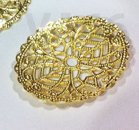Diy Oval 30mm X 23mm Gold Filigree Lace Wrap Extension
