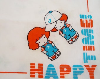 Happy Time Japanese Handkerchief.80s