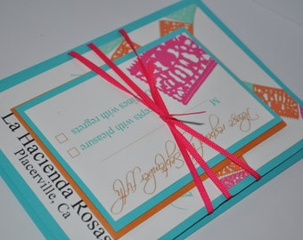 papel picado mexican wedding invitation