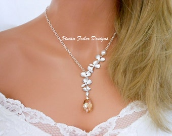 Champagne Wedding Jewelry Orchid Necklace Pearl Bridal Necklace Bridesmaid Necklaces Prom Jewelry Maid Of Honor