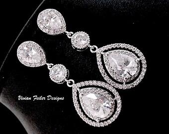 Wedding Earrings, Bridal Earrings, Wedding Jewelry, Glamorous Bling Cubic Zirconia Prom Earrings Wedding Jewellery