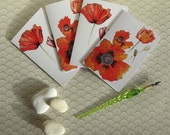 Set of four poppy blank greetings cards, notelets reproduced from original paintings