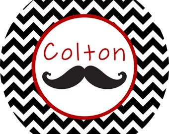 Personalized Mustache Melamine Plate