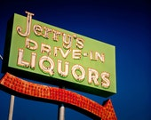 Vintage Jerry's Drive In Liquors Neon Sign - Retro Bar Decor - Phoenix Arizona Art - Vintage Sign Decor - Fine Art Photography